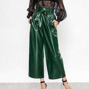 Jealous Tomato Faux Green Leather Wide Leg Pants!